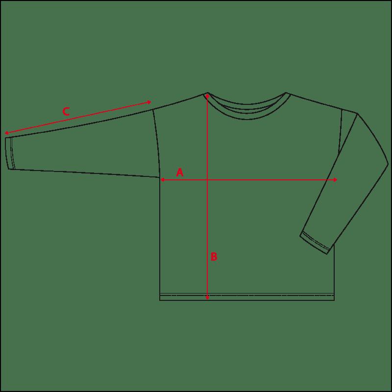 misure maglia maniche lunghe