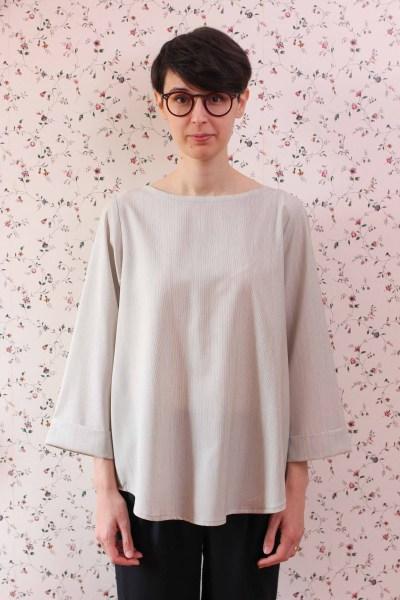 Camicia ampia in lana con risvolto Filotimo abiti naturali