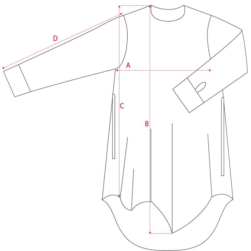 Vestito asimmetrico 100% lana