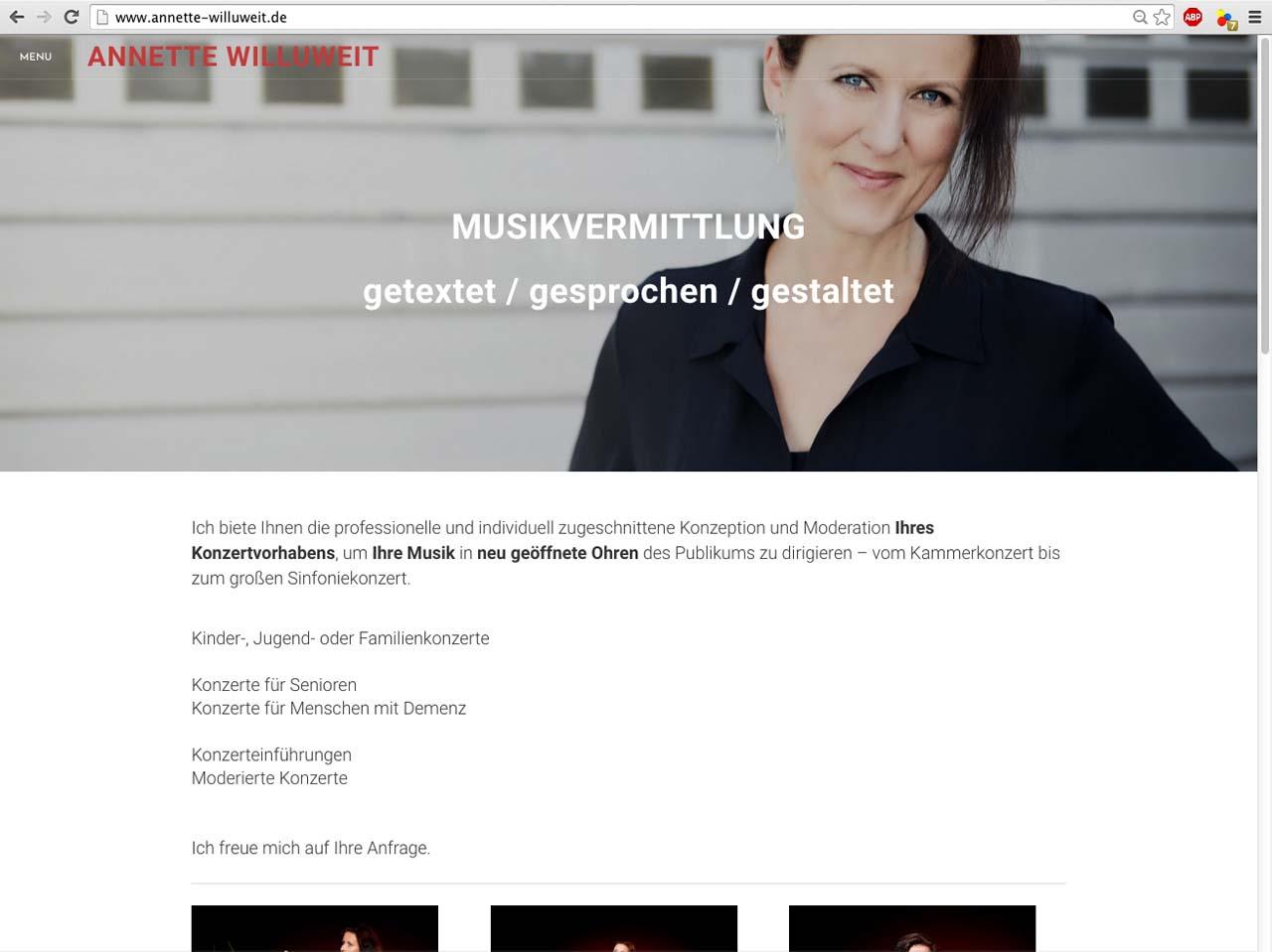 Website Design für Annette Willuweit