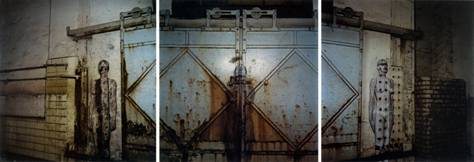 Veruschka Lehndorff & Holger Trulzsch, Bricked-in Iron Beam. Left side of door; Barred Sliding Door to the Old Fish Market; Bricked-in Iron Beam. Right Side of Door, 1978, each 7 1/2 x 7 1/2 inches, catalog reproductions of 16 x 15 3/4 inch original dye transfer prints.
