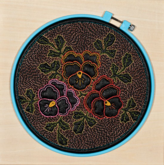 John Thomas Paradiso Leather Pansy II, 2010, Leather, thread, and plastic hoop on basswood panel, Collection of Horst Boelendorf