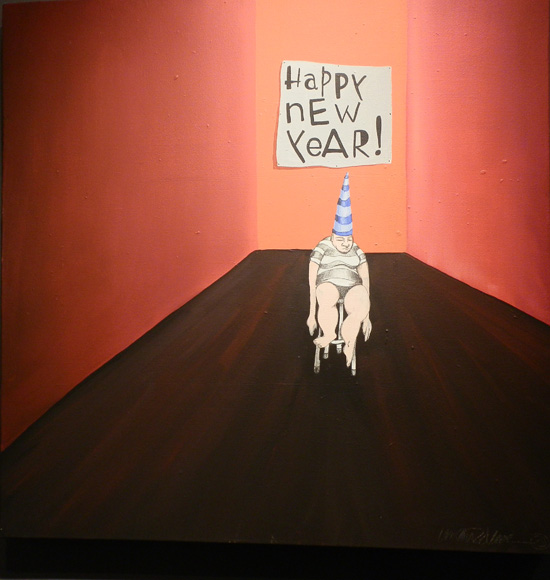 """Mark DeMaio, Happy New Year, 30"""" x 30"""", oil on canvas (photo by author)"""