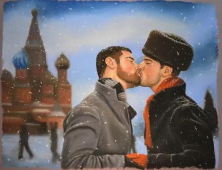 Michael Breyette, Russian Winter, 2012 Pastel on purple board, 18.5 x 24 in., Courtesy of the artist