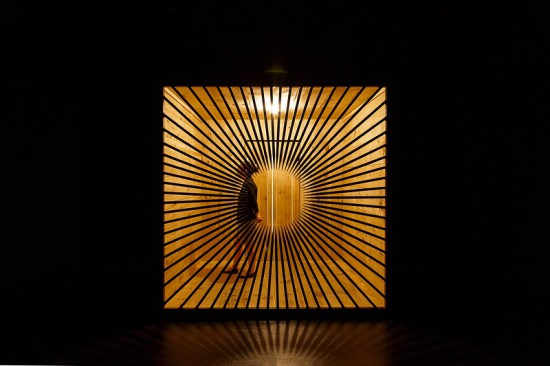 Jim Hodges, the dark gate, 2008. wood, steel, electric light, and perfume. Private Collection. © Jim Hodges. Photo by John Kennard.