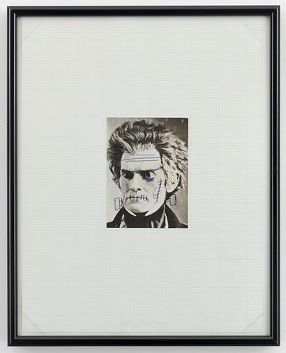 Mike Kelley, John C. Calhoun from Reconstructed History series, 1989, ink on printed paper, mounted on paper (all images © The Estate of Mike Kelley/Mike Kelley Foundation for the Arts; via Skarstedt Gallery)