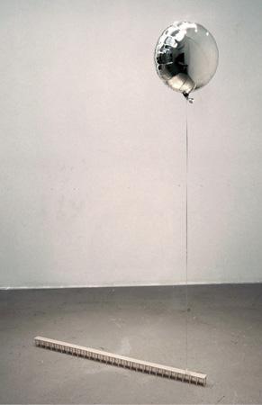 Anna Campbell, Vanishing Point 2013 - 2014 balsa wood, mylar helium balloon, ribbon, nylon