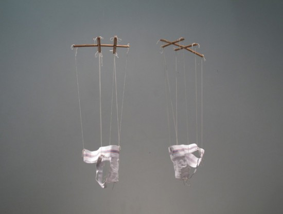 Anna Campbell, Coquettes (s,l) 2013, two jockstraps sized small and large, wood, twine