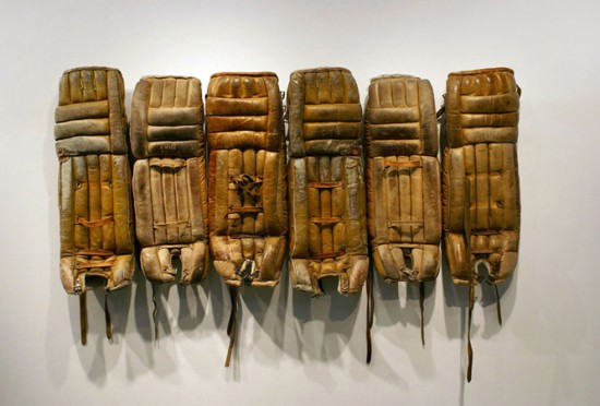 Anna Campbell, Ode to a gym teacher 2013, six leather goalie hockey pads