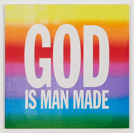 John Giorno, GOD IS MAN MADE, 2015 Screen Print and Enamel on Linen