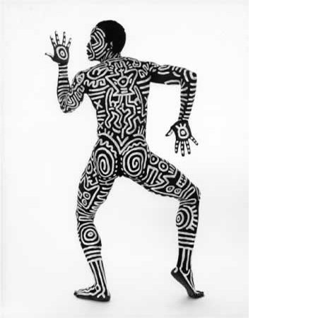 Bill T. Jones, body painted by Keith Haring, London, England, 1983, silver gelatin print