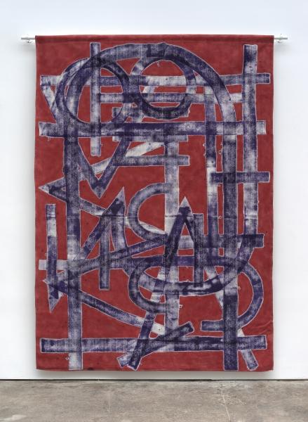 Elijah Burgher, BotD (Love Machine), 2015, Acrylic on canvas drop cloth