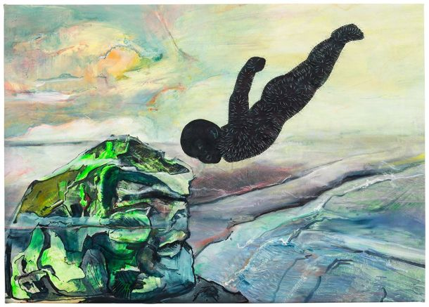 Cy Gavin, Emissary, 2015  acrylic, oil, chalk, staples on canvas, 39 x 50 inches (courtesy the artist and Sargent's Daughters, New York)