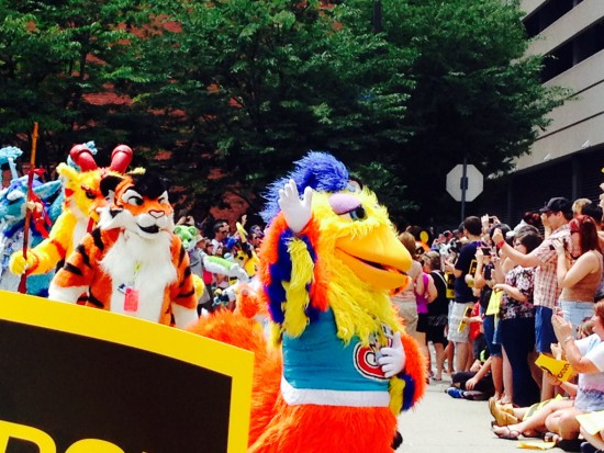 The San Diego Chicken, leading the parade!