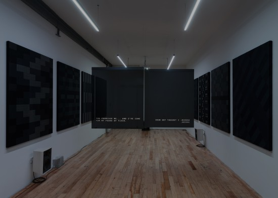 Glen Fogel, Why Don't I...Pretend To Be Your Dad, 2015, 2 channel video, synchronized LED lighting, custom black glass screens, sound, 29 minutes