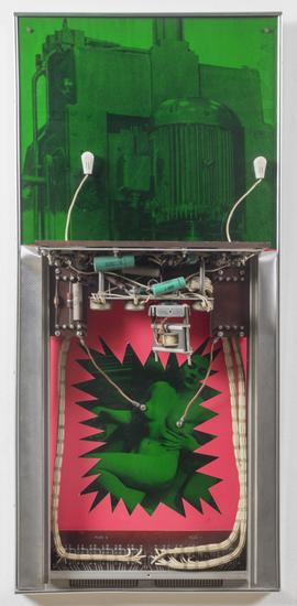 Robert Smithson, Honeymoon Machine,1964. Plexiglas, machine parts, black and white photographs on wood. 30 x 14 x 5 in. Collection Nancy Holt Estate