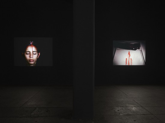 Installation view of Ana Mendieta's 'Sweating Blood' and 'Dripwall' in 'Experimental and Interactive Films' at Galerie Lelong