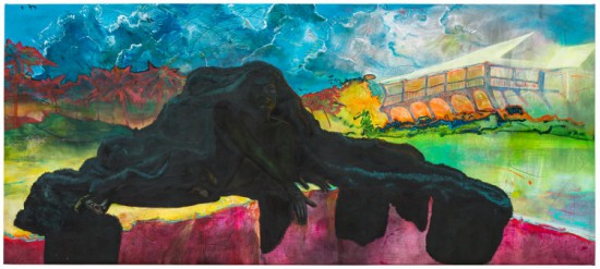 Cy Gavin, Rosewood Tucker's Point Golf Club and Cemetery, 2015 Acrylic, chalk, blood, ink, oil on canvas