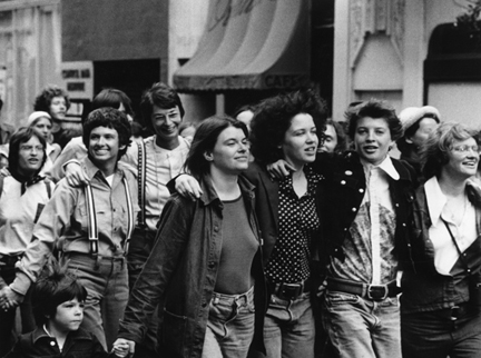 Rink Foto (birth date undisclosed) The first large group of lesbians in the San Francisco Gay Parade, invited by Harvey Milk, 1974/2016 Digital print, 13.4 x 18 in. Collection of Leslie-Lohman Museum, Gift of the artist