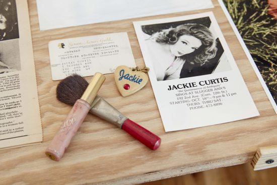 Installation view of Jackie Curtis ephemera (Photo by Jason Wyche; Courtesy Howl! Happening)