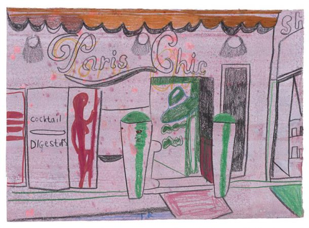 Tal R, Paris Chic, 2014, crayon and gouache on painted paper