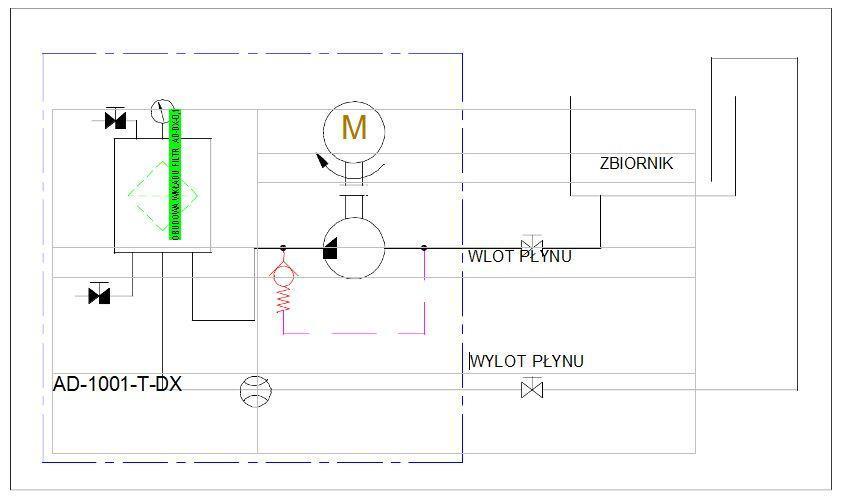 schemat hydrauliczny- agregat filtracyjny AD1001-T-DX