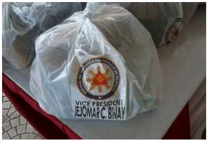 relief goods with VP Jejomar Binay Name