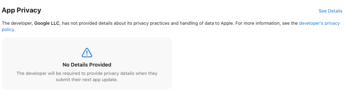 Google Privacy label