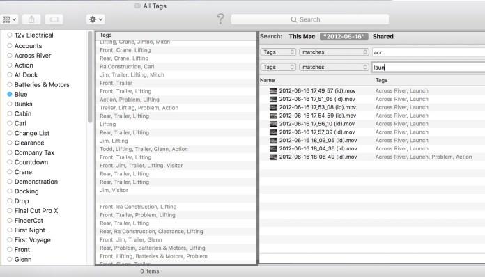 Una vez que los clips tienen los kewyords convertidos a Tags, pueden ser buscados en cualquiera de las opciones que ofrece macOS.