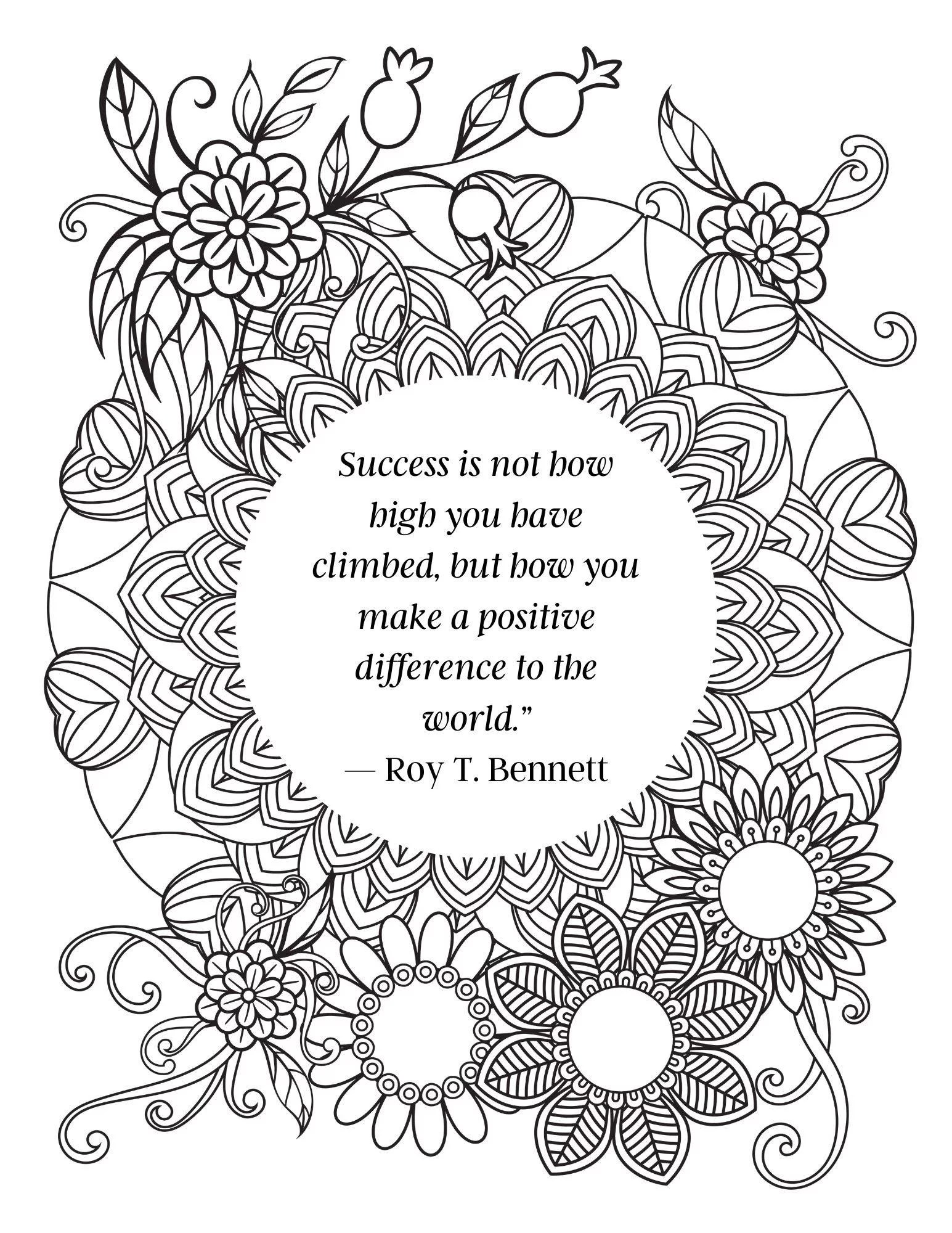 Positive Quotes Coloring Pages : positive, quotes, coloring, pages, Inspirational, Quote, Coloring, Pages, Adults