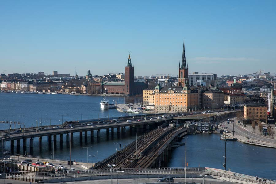 Views of Stockholm skyline from Gondolen
