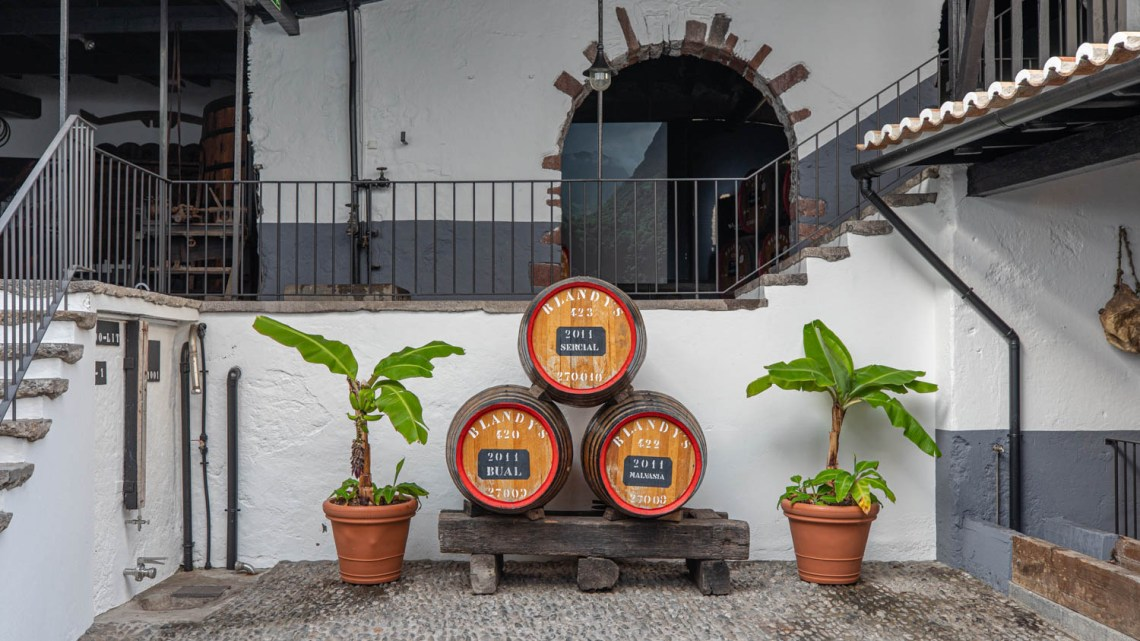 three old wine barrels at the Madeira Wine Company