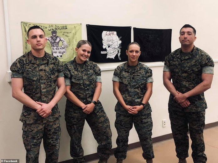 'She cared about people. She loved fiercely. She was a light in this dark world. She was my person,' said friend and fellow Marine Mallory Harrison in a Facebook post on Gee (center right)