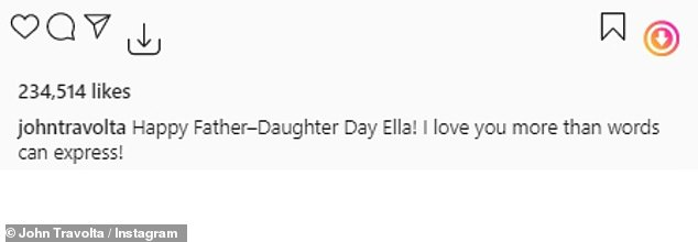 He shared a note as well:'Happy Father¿Daughter Day Ella! I love you more than words can express!' said the actor