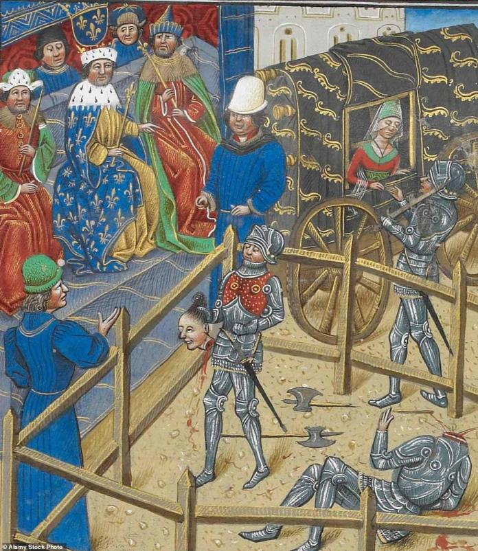 The two men were engaging in what was the last judicial duel sanctioned by the French monarch, who at that time was King Charles VI. The reason for their fight? Carrouges had accused Le Gris of raping his wife, Marguerite, while she was alone at his mother's chateau. When he went to the king for justice, the monarch ordered the duel to resolve the dispute after an ordinary court trial failed to reach a conclusion. Above: An illustration of the aftermath of the battle shows Carrouges holding Le Gris's head before the king