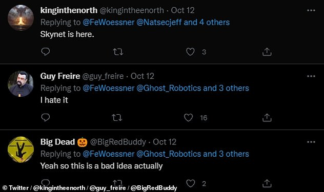 Reaction on Twitter to the unveiling of the SPUR-equipped robots was mixed ¿ but with more concern than endorsement. Pictured: some responses