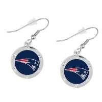 New England Patriots Round Crystal Earrings  Pierced ...