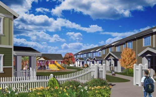 The Breckenridge Townhomes development is a mixture of affordable two- and three-bedroom units around a courtyard. (Submitted rendering)