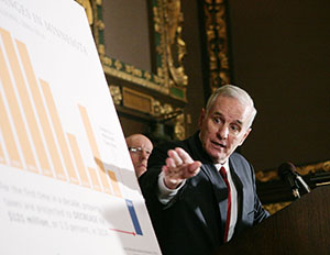 Gov. Mark Dayton on Tuesday addresses a news conference touting a projected $121 million decline in property taxes in 2014. (Staff photo: Peter Bartz-Gallagher)