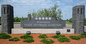 A stone monument greets visitors to the state veterans' cemetery in Little Falls. The Minnesota Department of Veterans Affairs plans to break ground on Minnesota's second such cemetery this fall. (Submitted photo: Minnesota Department of Veterans Affairs)