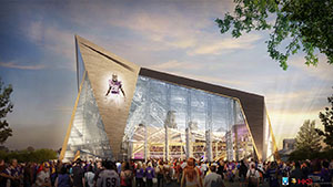 """Negotiations over final use and development agreements for the new Vikings stadium are on hold as the """"due diligence"""" review plays out. (Submitted rendering)"""