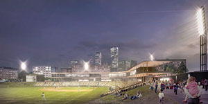 Design development for the new St. Paul Saints stadium has been pushed back to February. (Submitted rendering)