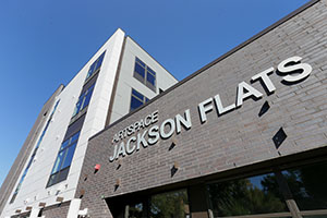 The $10 million Jackson Flats project sits just a block from busy Central Avenue and within the burgeoning Northeast arts district. (Staff photo: Bill Klotz)