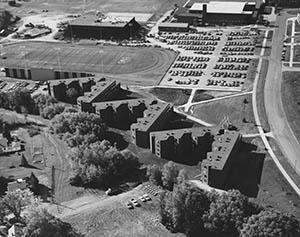 University of Minnesota-Duluth officials say it would cost about $12 million to rehab the Stadium Apartments. The three-building complex is scheduled for demolition early next year. (Submitted photo: UMD Archives)