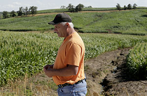 "Wayne County board of supervisors member Bill Alley looks over an eroded cornfield July 26 that was recently converted from pasture to row crops near Lineville, Iowa. The once grassy, hilly landscape is made up of fragile soil that, unlike the rest of the state, is poorly suited for corn. ""They're raping the land,"" said Alley. Five million acres of conservation land has been converted to row crops since Obama's ethanol mandate, leading to erosion and pollution from fertilizer runoff. (AP Photo: Charlie Riedel)"