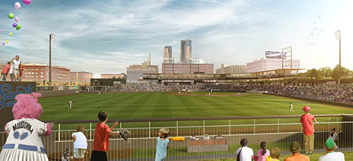 Julie Snow'snewest rendering for the Saint Paul Saints ballpark shows how the architecture highlights the surrounding neighborhood and downtown skyline rather than reflects Lowertown's architectural heritage. (Submitted rendering: Julie Snow Architects)