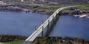 The St. Croix River Crossing superstructure work includes the main deck and other components for the 5,000-foot-long bridge between Oak Park Heights and St. Joseph, Wis. (Submitted rendering)