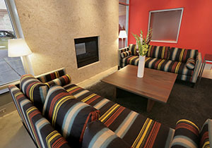 Feng shui puts the fire element on the south side of a building. In the new 7west apartments in Minneapolis, a gas fireplace was placed in the lobby so that it faces both the lobby and the street. (File photo: Bill Klotz)