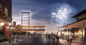 In the latest plans, the St. Paul Saints ballpark design team reduced the height of the building, changed some building materials to include more masonry, and added a public path around the ballpark to the north, among other changes. (Submitted rendering)