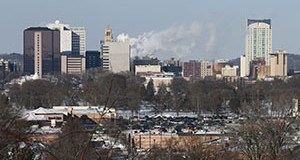 The two-decade, $5.5 billion Destination Medical Center expansion plan promises to change Rochester's skyline, where Mayo Clinic buildings (upper left) dominate downtown. (Staff photo: Bill Klotz)
